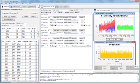 Demo example of fanTESTic showing the basic user interface with test initialisation and setup for a static ADC test.