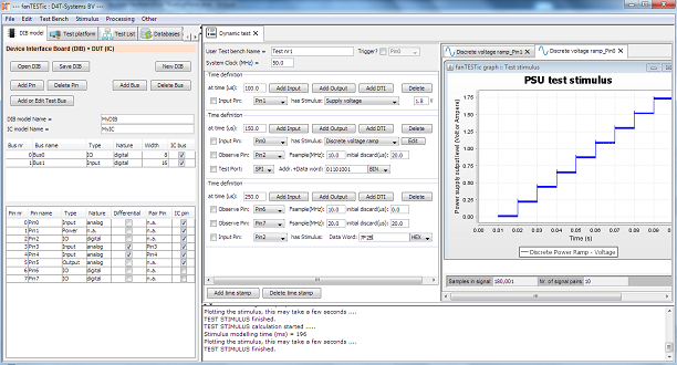 test bench example showing a PSU stimulus generated from a user provided test